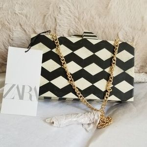 Zara acrylic black and white bag